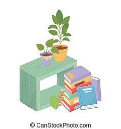 植物, 家, 本, 甘い, 木製である, 山, potted, 家具