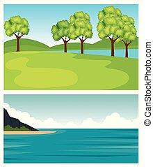 植物, 山, セット, 自然, 木, 薮