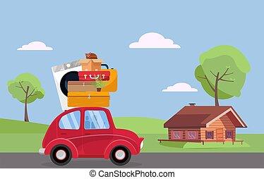 植物, 山, 赤, 屋根, 光景, 運転, 引っ越し, 漫画, luggage., 機械, 家具, 木製である, スーツケース, 家, illustration., 型, house., 平ら, concept., ベクトル, 洗浄, 自動車, 側