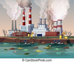 植物, 工場, 汚染, ∥あるいは∥, 産業, 空気, 力