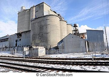 植物, 工業, 老, 區域, 混凝土, 軌道, 鐵路