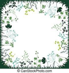 植物, 広場, シルエット, 抽象的, 定型, ハーブ, テンプレート, 花, plants.