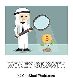 植物, 彼の, お金, 拡大しなさい, 寄付, 写真, アラビア人, ガラス, 成長, テキスト, ライト, ビジネスマン