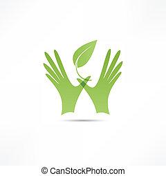 植物, 手, アイコン