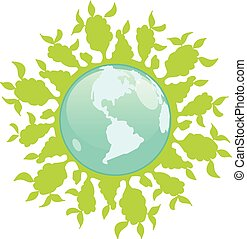 植物, 抽象的, イラスト, 緑の地球, 株