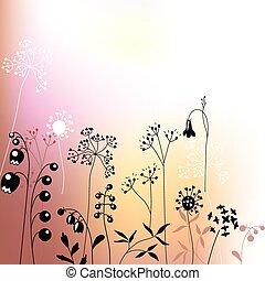 植物, 抽象的, 定型, ハーブ, テンプレート, 花