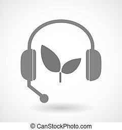 植物, 援助, アイコン, リモート, ヘッドホン