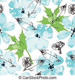 植物, 新鮮, seamless, 畫, 圖案