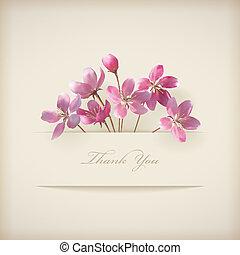 植物, 春天, 矢量, 'thank, you', 桃紅色花, 卡片