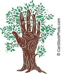 植物, 木, イラスト, 手