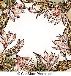 植物, 框架, 樣板