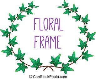 植物, 框架, 矢量, 輪