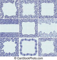植物, 框架, 矢量, 集合
