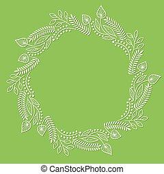 植物, 框架, 綠色, 輪, 背景