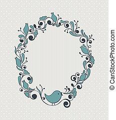 植物, 框架, 鳥