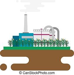 植物, 概念, 自然, のように, biodiesel, 処理, 精製所, biofuels, 資源