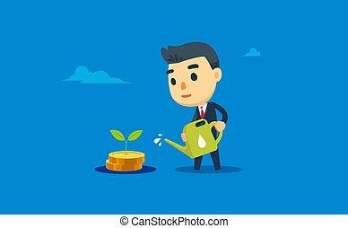 植物, 水まき, お金, ビジネスマン