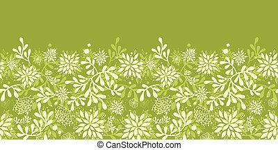 植物, 水中, パターン, seamless, 緑の背景, 横, ボーダー