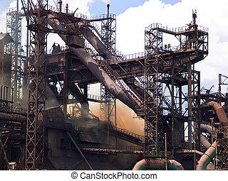 植物, 炉, metallurgical, 爆発