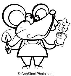 植物, 着色, 老鼠, 地形, 卡通漫画
