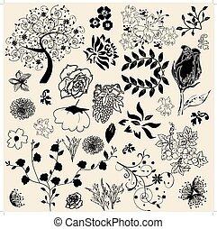 植物, 矢量, 元素