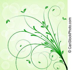 植物, 矢量, 綠色的背景