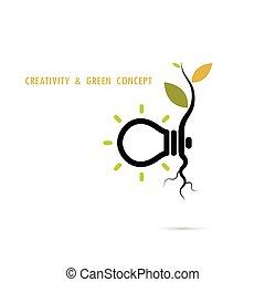 植物, 知識, ビジネス, eco, ライト, 中, concept.tree, エネルギー, logo.green, 成長する, 電球, 教育, concept.