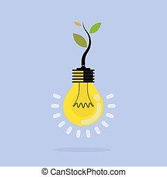 植物, 知識, ビジネス, eco, ライト, 印。, イラスト, エネルギー, concept.tree, ベクトル, bulb.green, concept., 成長する, 教育, 中