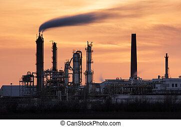植物, 石油産業, -, シルエット, 精製所, petrechemical