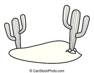 植物, 砂, 黒, 白, サボテン, 漫画, アイコン