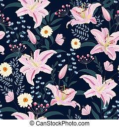 植物, 粉紅背景, 百合花, 圖案, 花, 插圖, 矢量, 藍色, seamless, 植物