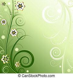 植物, 綠色的背景, (vector)