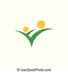 植物, 自然, 太陽, 抽象的, 緑, ロゴ, 教育