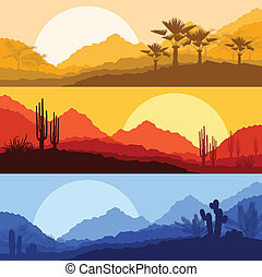 植物, 自然, 木, やし, 野生, サボテン, 風景, 砂漠