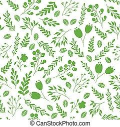 植物, 花園, 圖案, seamless, 綠色, 植物, 花