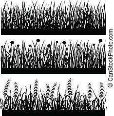 植物, 草, 黑色半面畫像, 花