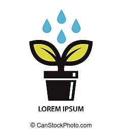 植物, 葉, ポット, 低下, 水, アイコン
