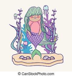植物, 葉, 女, ブランチ, mermaid