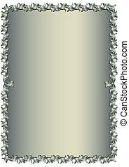植物, 葡萄酒, 銀色, 框架, (vector)