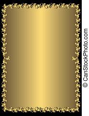 植物, 葡萄酒, 黃金, 框架, (vector)