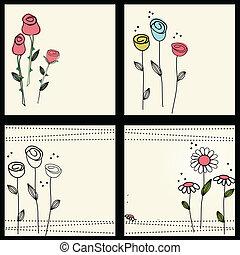 植物, 蝴蝶, 集合, 卡片