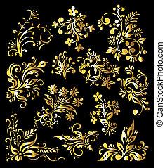 植物, 裝飾品, 集合, ......的, 葡萄酒, 黃金, 裝飾, 元素