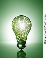 植物, 裡面, 燈泡
