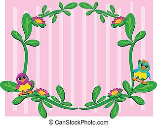 植物, 赤ん坊, フレーム, 鳥