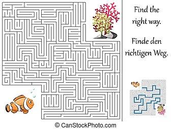 植物, 迷路, ∥あるいは∥, clownfish, 迷路, enducation, 子供