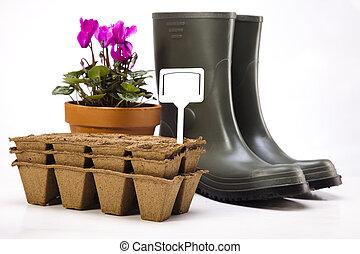 植物, 道具, 庭, ブーツ