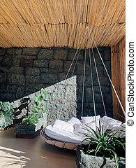 植物, 部屋, ベッド, 緑, 残り