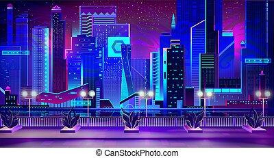 植物, 都市, 波止場, ネオンライト, 夜