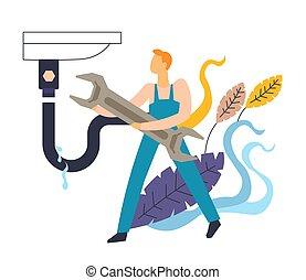植物, 配管工, 抽象的, レンチ, 隔離された, 流し, オーバーオール, leakage, アイコン