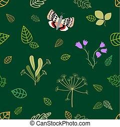 植物, 金, パターン, 葉, seamless, バックグラウンド。, ベクトル, 緑, エメラルド, 花, motifs.